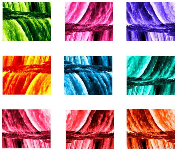 Daniela Butsch, flow, looped videoinstallation. Nine stills from flow.