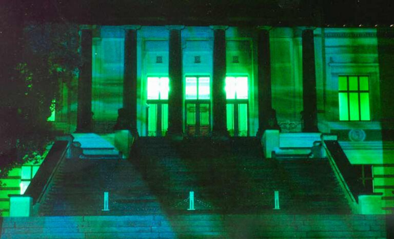 Daniela Butsch-flow-video installation-projected onto the facade of the Staatliche Museum Schwerin- 2003 curated by Kornelia Schroeder