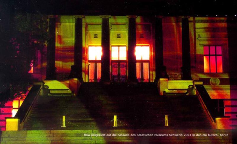 Daniela Butsch, flow, video installation projected onto the facade of the Staatliche Museum Schwerin, 2003.
